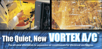 ITW Vortec Products, Cabinet, Panel, Coolers, Electronic, Cabinets, ITW Vortec, Vortex Tube, Cold Pumps, Vortex A/C, air blowoff nozzles, air jets, Sprayvectors, Air Knives, Static Elimination